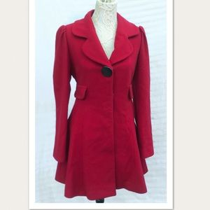 Laundry by Design Red Wool Swing Coat